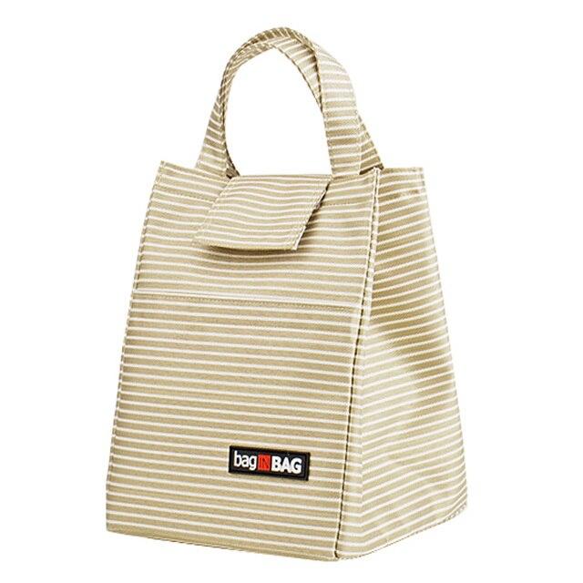 Large Bolsa Termica Thermal Bag Thermos Food Lunch Box for Kids Stripe Velcro Box Lunchbag Handbag Insulation Bag Lunch Bag Tote