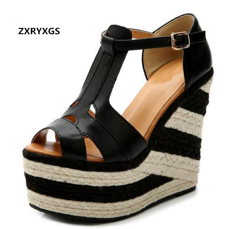 2019 new summer women sandals shoes national wind hit color heavy bottomed flax wedge sandals Roman Ultra high heeled sandals-in High Heels from Shoes    1