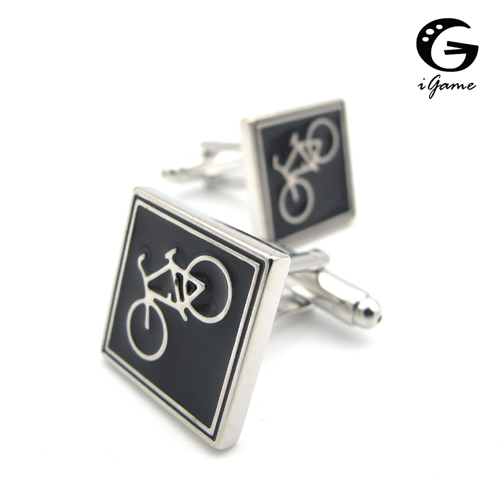 iGame New Arrival Bike Cuff Links Black Color Bicycle Design Quality Brass Material Men Cufflinks Free Shipping summer women sandals open toe rhinestone lady designer gladiator sandal boots shinny bridal wedding shoes snake style sandals
