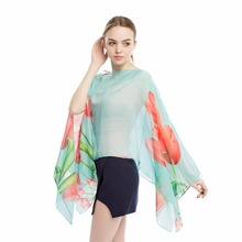 women silk cover ups sarong cape wraps european style pareo femme kaftan pearl buttons tulip shawls multi top dress