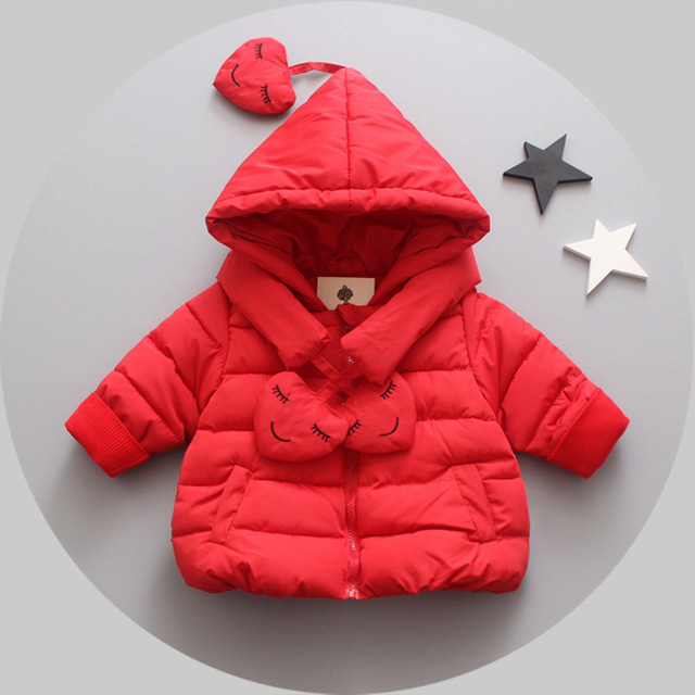 2016 new winter down jacket girl solid color cute 100% down jacket thicker cotton children 1-3 years old girls free shipping