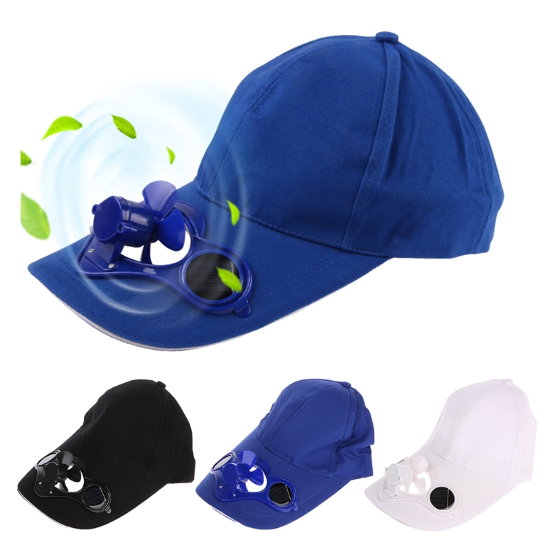 Summer Sport Outdoor Hat Cap With Solar Sun Power Cool Fan Bicycling Climbing stylish baseball hat cap with solar powered cooling fan yellow
