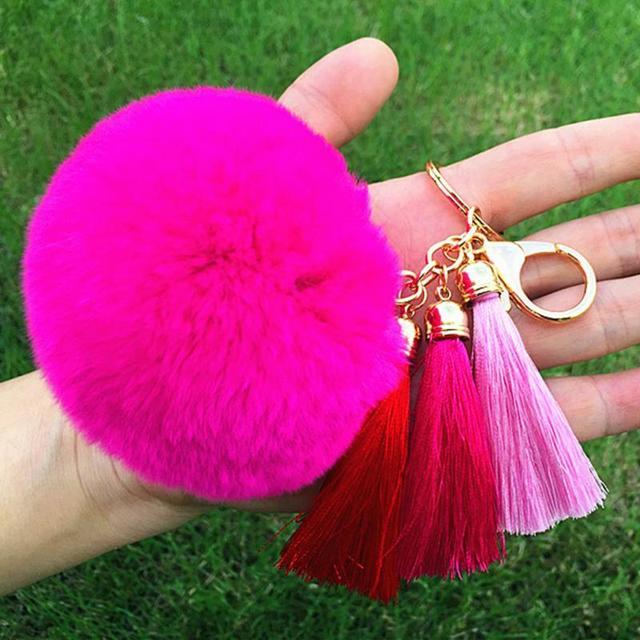 New Women Tassel Hairball Key Chain Pendant Tassel Rabbit Fur Fuzzy Ball  Pompom Keychain Bag Big Charm Key Ring-in Key Chains from Jewelry    Accessories on ... b3360f2af5