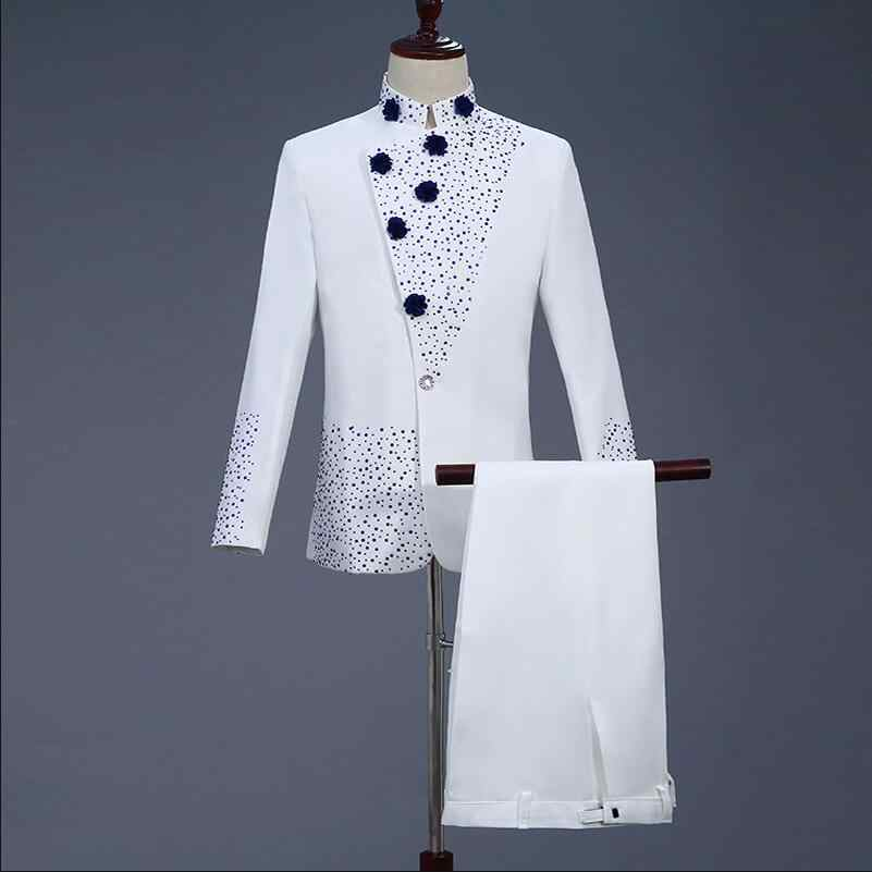 New Fashion Brand Men Suits Chinese Tunic suit Stand Collar White Set Auger Twinkling Male Tuxedo Wedding Business Slim Dress