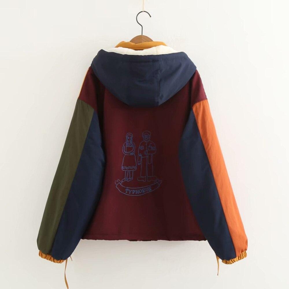 Printemps D'hiver As Doublure Capuchon Épais À Patchwork Chaude Zipper Design Outwear Vestes Femmes Vintage Nouveau Manteau Velours Show Coton Parkas dwUZq0d