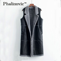 Phalinovic Women Leather Vest Extra Long Lady Waistcoat Black Sleeveless Female Jacket Russia Winter Autumn Clothes