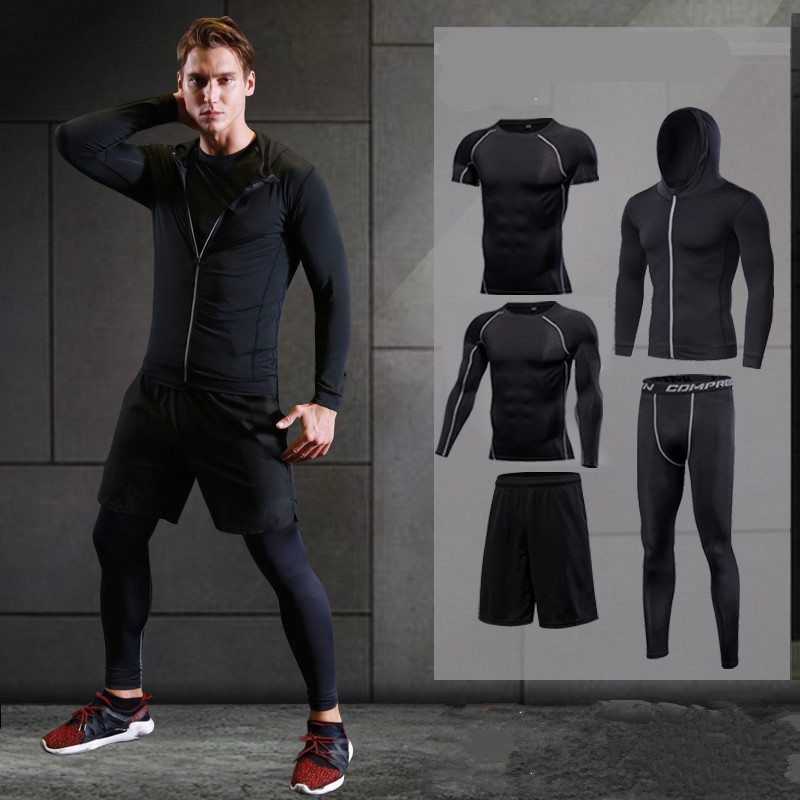 2017 running set men's sport suit compression basketball running underwear clothes men quick dry gym fitness training sport suit good quality wholesale custom mens fitness running compression set suit shorts tshirt