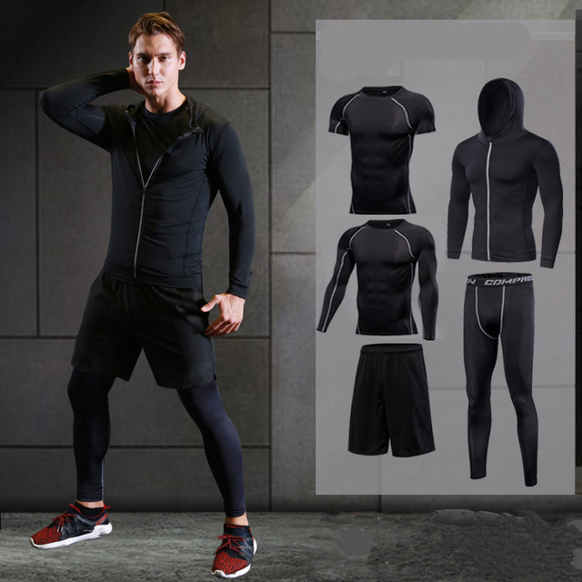 2a040e49171 2018 running set men s sport suit compression basketball running underwear  clothing quick dry gym fitness tracksuit sports suits