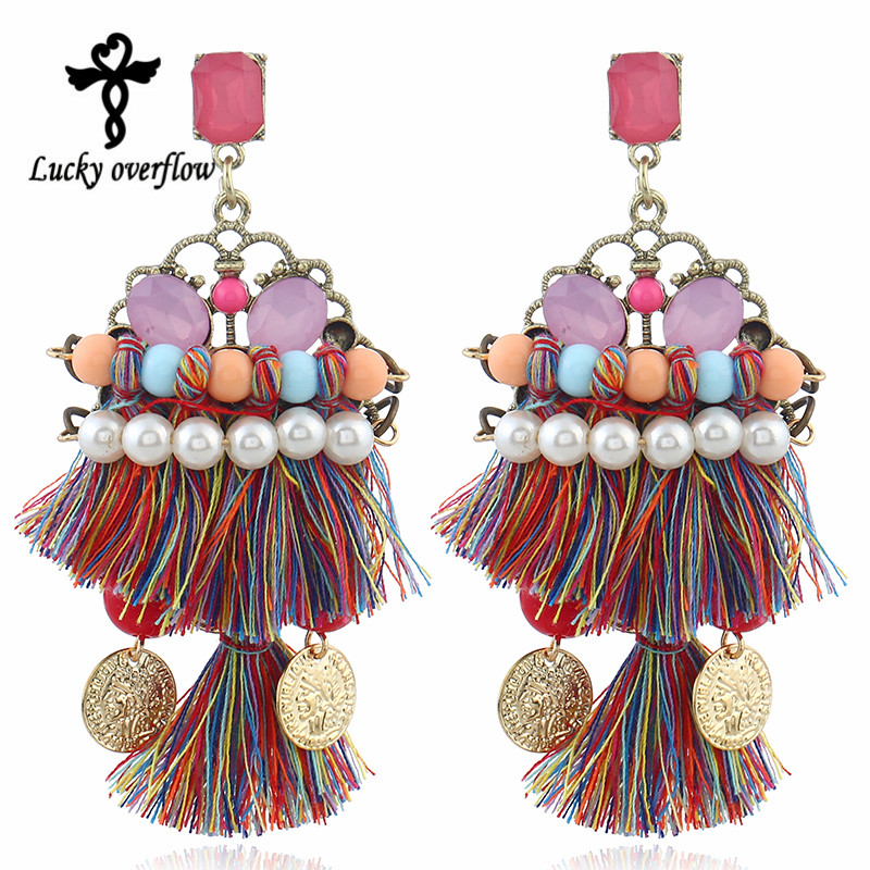 Jewelry & Accessories Personalized Ethnic Bohemia Mulit-color Acrylic Layer Tassel Earrings For Women Gypsy Handmade Jewelry Accessory Earrings