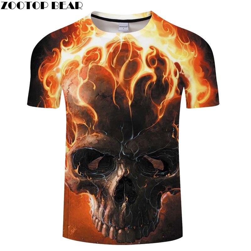 Camiseta con estampado 3D de calavera de fuego para hombre y mujer camiseta  de verano Casual 5867be612443b