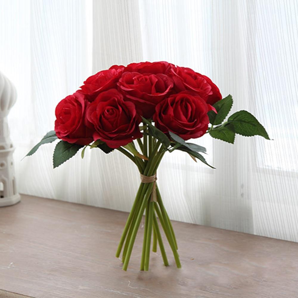 10 головок искусственная Красная роза цветок Свадебный букет невесты реальные сенсорные пионы Искусственные цветы из шелка ко Дню Святого В...