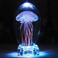 Lámpara de Medusa de cristal LED luz de la noche cambio de Color Medusa lámpara de mesa de cama de niños Lampara para regalos para chico decoración del hogar
