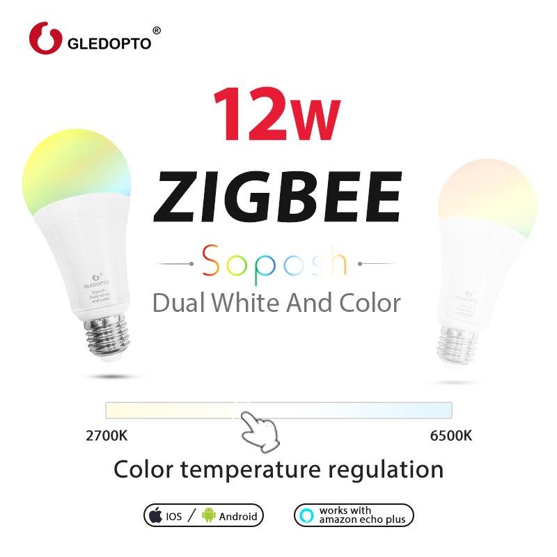 GLEDOPTO Lâmpada Inteligente E27 12W RGB Cor CCT Dimmable Lâmpadas LED Compatível com Amazon Plus Eco Eco Mostrar alexa SmartThings