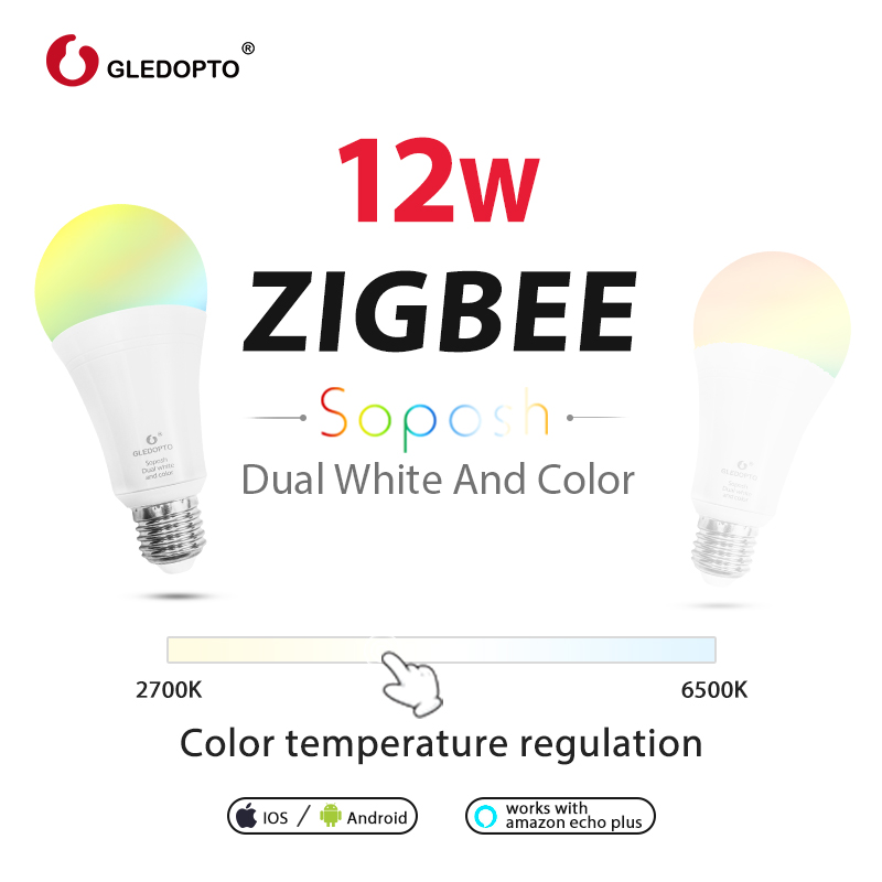 GLEDOPTO Smart Light Bulb E27 Dimmable 12W RGB CCT Colour LED Bulbs Compatible With Amazon Echo Plus Echo Show Alexa SmartThings