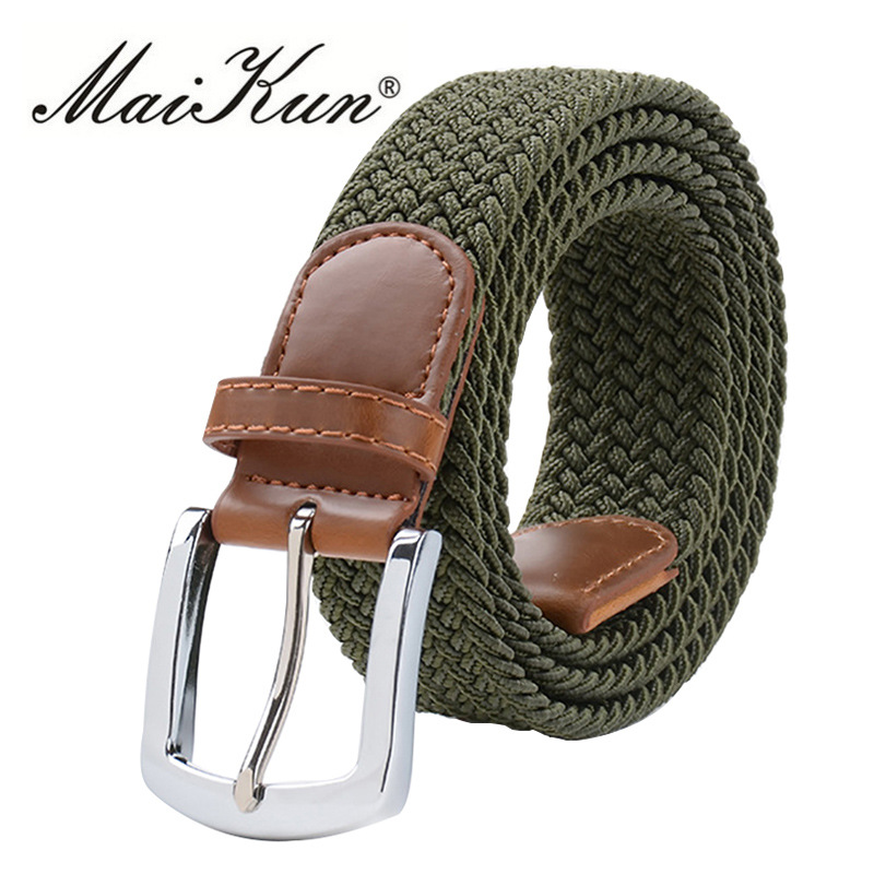 MaiKun Men's Belts For Men Metal Pin Buckle Elastic Male Belt Military Tactical Belt