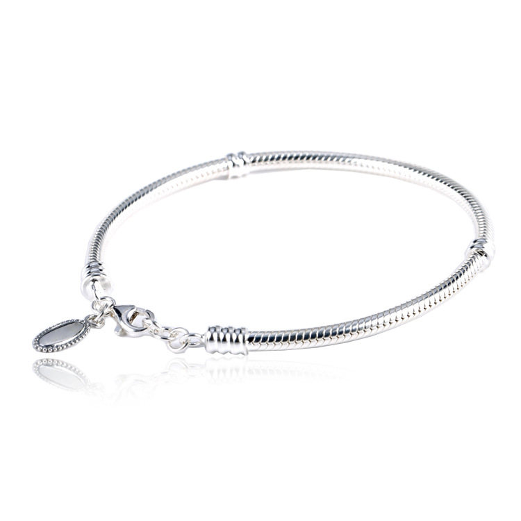 100% 925 Sterling Silver Basic Chain Lobster Buckle Snake Clasp Bracelets Fit Women Charms Beads & Pendants DH009 925 sterling silver snake chain basic bracelets charms heart clip blue pink purple crystal clasp fit women diy bracelets