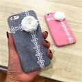 El otoño y el invierno de Corea versión de la flor para iphone7 7 plus caja del teléfono móvil de conejo Rex borla felpa caso 6 s cáscara suave fe