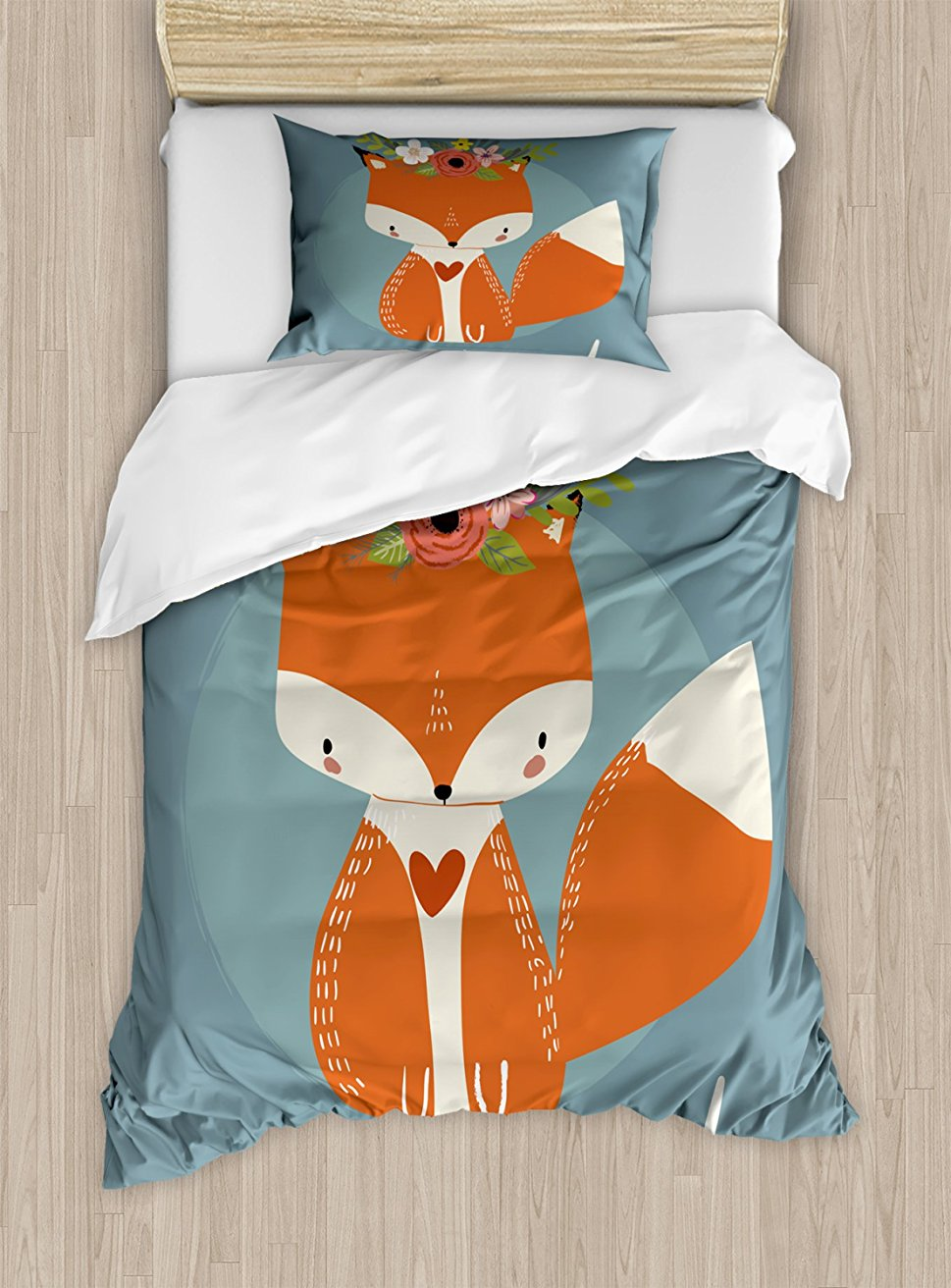 Hello постельное белье поздравления для предстоящего летнего сезона рисунок лиса с процветает цветы 4 шт. постельное белье