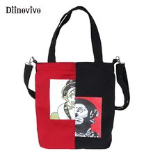 DIINOVIVO New Printed Canvas Bag Women Handbag Female Shoulder Bag Simple Shopping Bag Tote Ladies Hand Bags Travel WHDV0930(China)