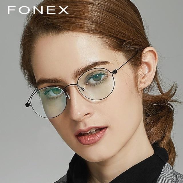 08df99ba96c B Pure Titanium Glasses Frame Women Ultralight Prescription Eye Eyeglasses  Men New Korean Myopia Optical Frame