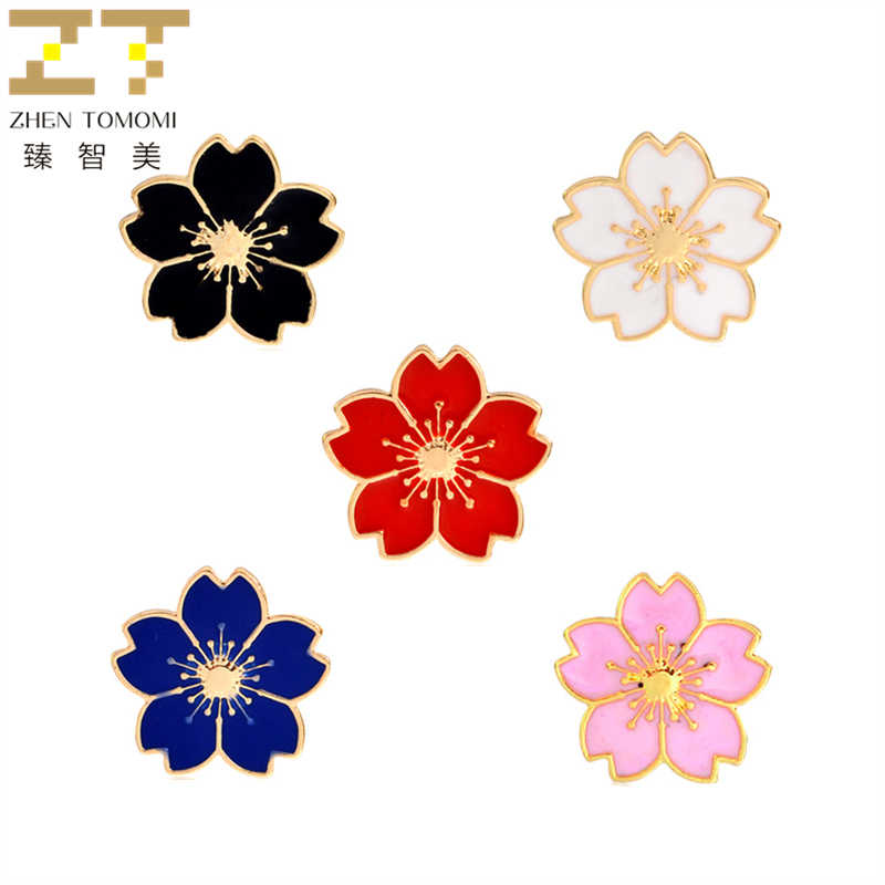 2019 Hot Fashion Cherry Blossoms Brooch Cufflinks Enamel Pins Button Clothes Bag Pin Badge Brooches Collar Pin For Women Jewelry