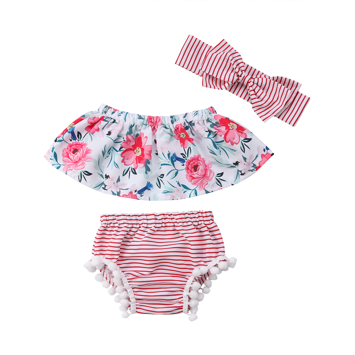 2018 Princess Baby Girls Off Shoulder Floral Tops Briefs Striped Shorts 3pcs Outfits Sweet Summer Set Sunsuit