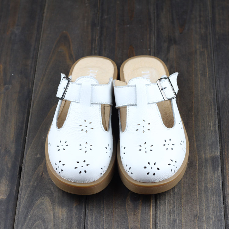 Careaymade Spring Genuine Leather slippers Pure handmade white shoes The retro art mori girl Flats shoes