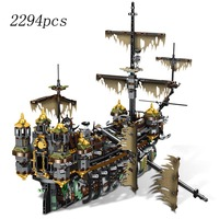Movies Pirate Ship Salazar Pirates of the Caribbean The Slient Mary Set Model legoinglys city Building Blocks Kids Gifts Toy