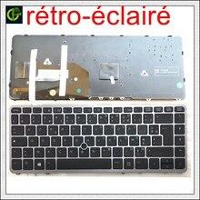 Fransız Azerty orijinal arkadan aydınlatmalı klavye HP EliteBook 840 G1 840 G2 850 G1 850 G2 855 G2 ZBook 14 FR gümüş çerçeve