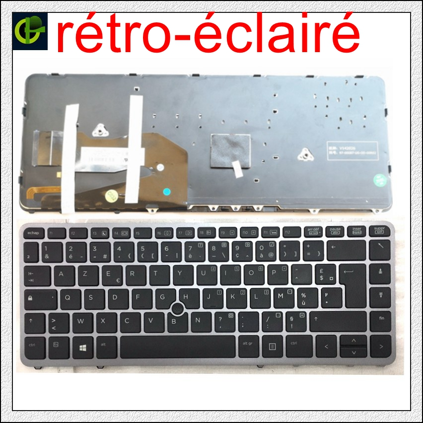French Azerty Original Backlit keyboard for <font><b>HP</b></font> EliteBook 840 <font><b>G1</b></font> 840 G2 <font><b>850</b></font> <font><b>G1</b></font> <font><b>850</b></font> G2 855 G2 ZBook 14 FR silver frame image