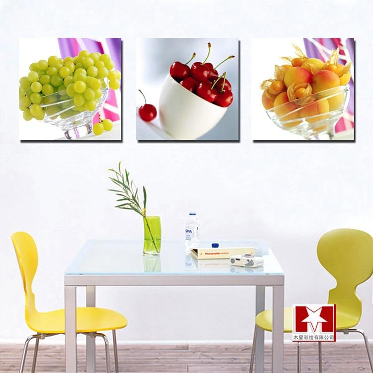 Restaurant Kitchen Wall Panels 3 panel kitchen fruit canvas art realist combination paintings on