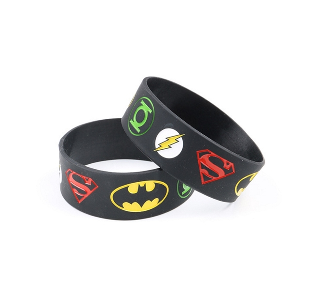 10 Pcs Lot Super Man The Flash Bracelet Pendant Toy Rubber Silicone Wristband Figure Gift