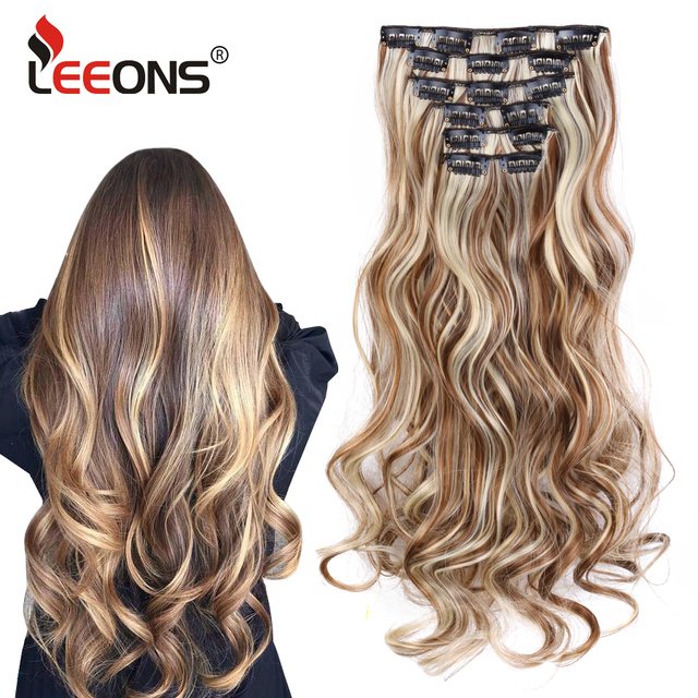 Leeons 22 Inch High Temperature Fiber Curly Synthetic 16 Clips In Hair Extensions For Women Hairpieces Ombre Brown Hair pieces 2