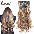 Leeons Full Head High Temperature Fiber Curly Synthetic 16 Clips In Hair Extensions For Women Popular Hairpieces Ombre Colors