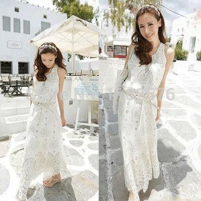 Bohemian maxi dress white cotton