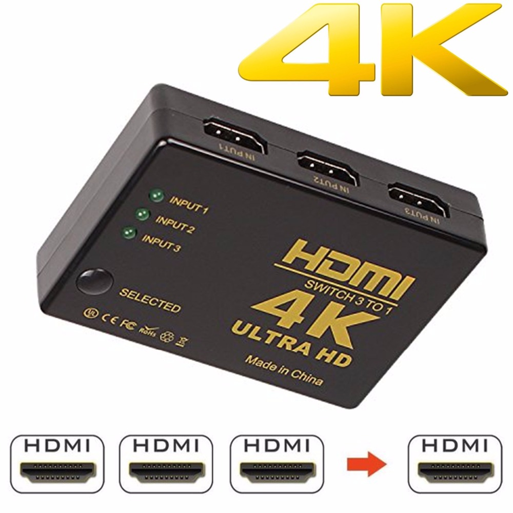 1080P 4K*2K HDMI Video Switch Switcher HDMI Splitter 3 input 1 output Port Hub for DVD HDTV Xbox PS3 PS4