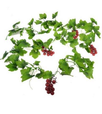 2.4 m Borgoña Plástico Uva Hojas Verdes Pared Ornamento Falsa Artificial Ivy Enr