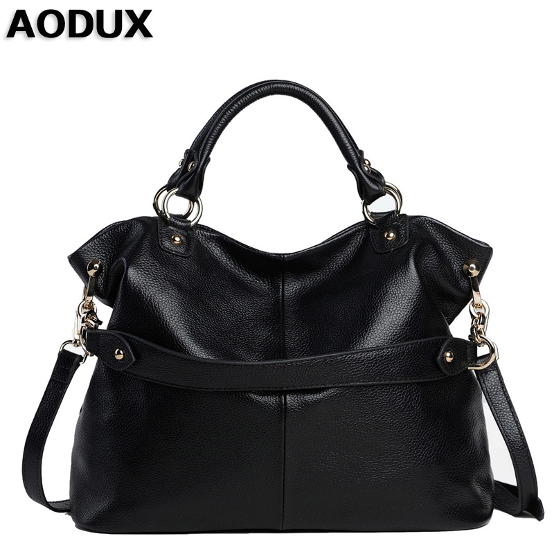AODUX Ladies Top Layer Genuine Cow Leather Women Shoulder Bag Handbags Real Leather Crossbody Messenger Tote Bags zency genuine leather small women shoulder tassel bags tote handbags first layer cow leather ladies messenger bag satchel