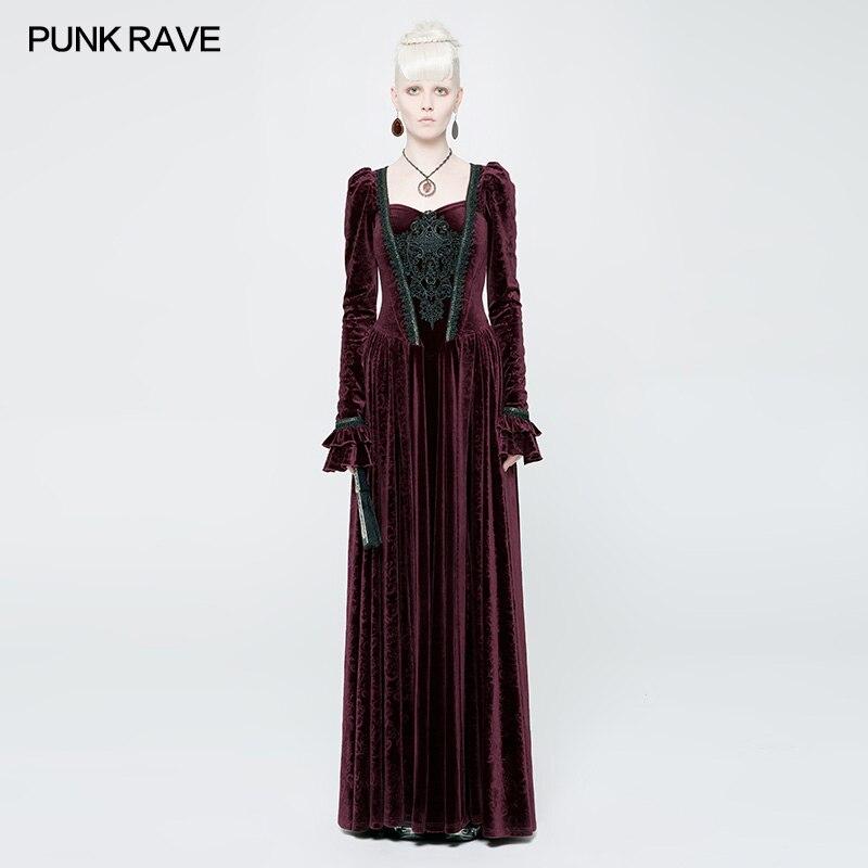 PUNK RAVE noir rouge femmes décontracté Vintage robes magnifique fête de mariage victorien Palace à manches longues femmes robes