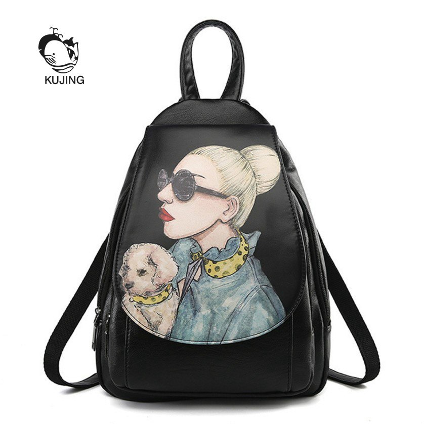 Kujng Fashion Backpack High Quality Printing Women Casual Backpack Hot Black Lady Backpack Cheap Shopping Travel Female Backpack