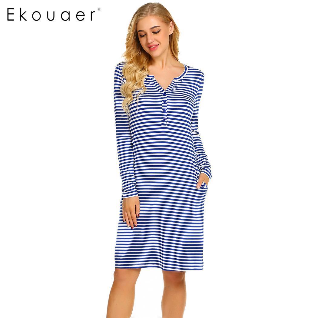 77d0708e631 Detail Feedback Questions about Ekouaer Women Chemise Nightgown Sleep Dress  Maternity Nursing Casual Long Sleeve V Neck Striped Nightdress Female  Nightwear ...