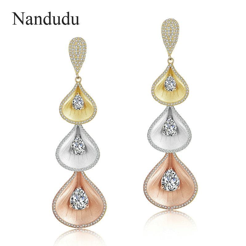 Nandudu Fashion Long Drop Earrings Frosted Gold Unique Design Pendientes Three Tone Gold Color Dangle Earrings for Women CE492