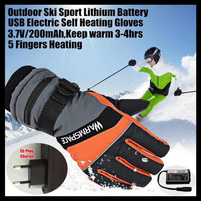 2000mAh Smart USB Electric Heating Gloves,Winter Warm Windproof Outdoor Sport Skiing Gloves Lithium Battery 5 Finger Self Heated