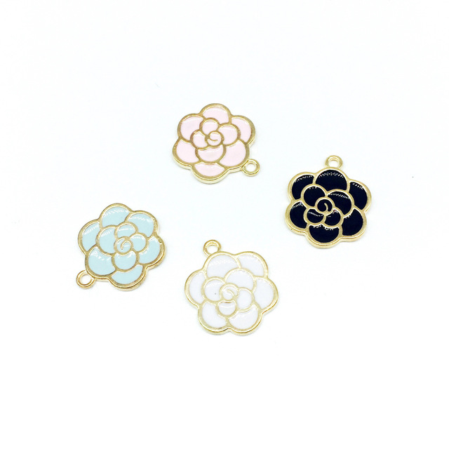 30pcs/lot Gold Color Peony Flower Charm Oil Drop Charms For DIY Handmade Jewelry
