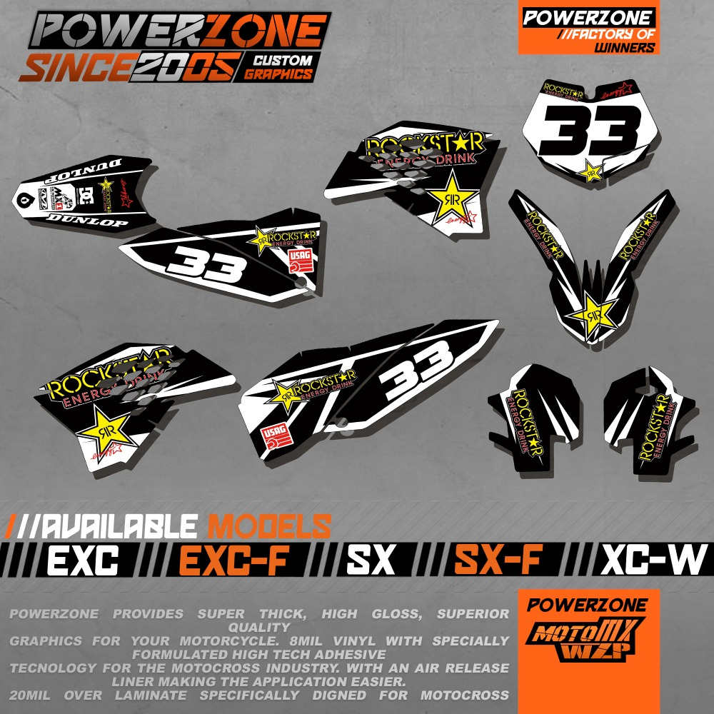 Customized Team Graphics Backgrounds Decals 3M Stickers Kit For KTM SX SXF XC XCF EXC EXCF 125 200 250 300 350 450 530 2003-17  0322 star new team graphics with matching backgrounds fit for ktm sx sxf 125 150 200 250 350 450 500 2011 2012
