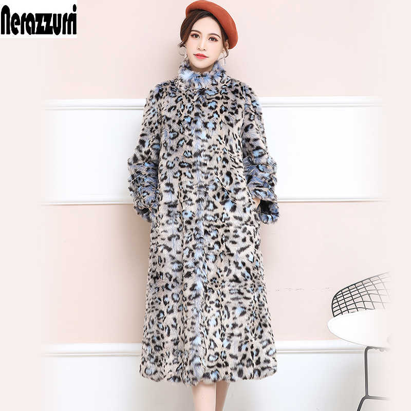 Nerazzurri Brand Faux Fur leopard Print Coat Women Long Fluffy Sexy Fake Fur jacket Colorful Plus Size Fur Overcoat 5xl 6xl 7xl