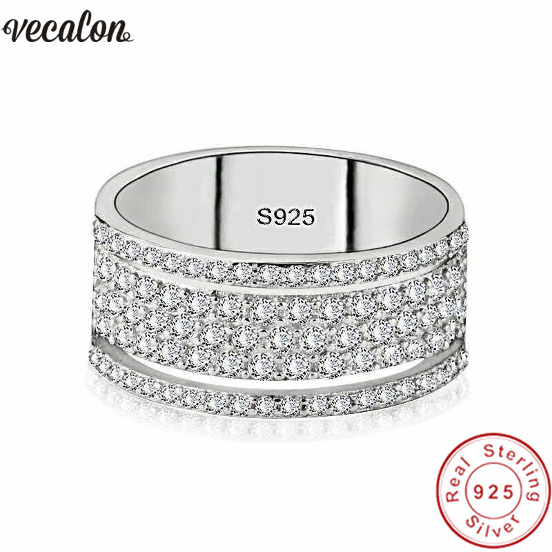 Vecalon Eternity Promise Ring 925 Sterling Silver Five Dazzling Layers AAAAA Cz Engagement Wedding Band Rings For Women Jewelry