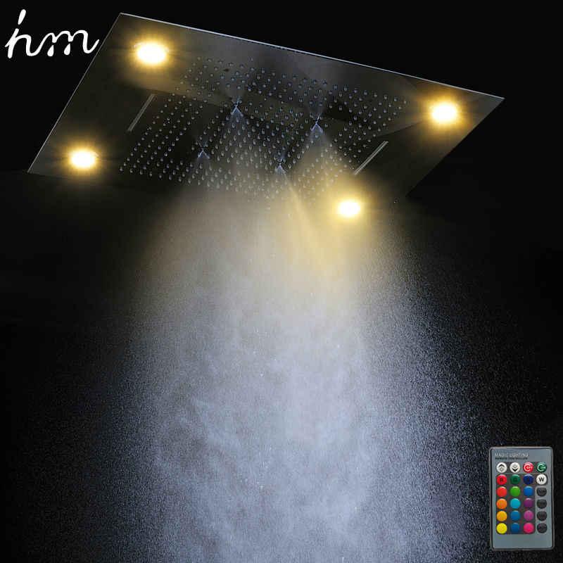 Hm Multi Função de Cabeça de Chuveiro do Diodo Emissor de Luz 600*800mm Do Teto Chuva Chuveiro Controle Remoto LEVOU Chuvas Cachoeira Massagem cabeças de chuveiro