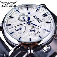Jaragar Brand Men Automatic Self Wind Mechanical Watch White 3 Dials Calendar Blue Hands Simple Business Leather Band Wristwatch цена