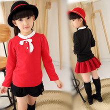 Children's Wear Bow Girls Winter All-match Children Long Sleeved Shirt Blouse T-Shirt New South Korea Red Black
